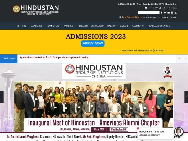 Screenshot of www.hindustanuniv.ac.in