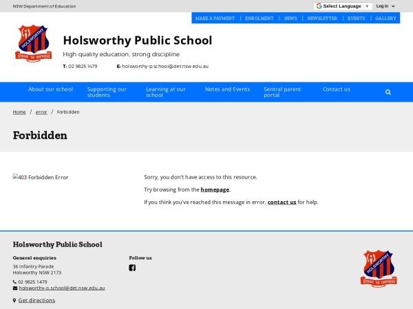 Screenshot of www.holsworthy-p.schools.nsw.edu.au