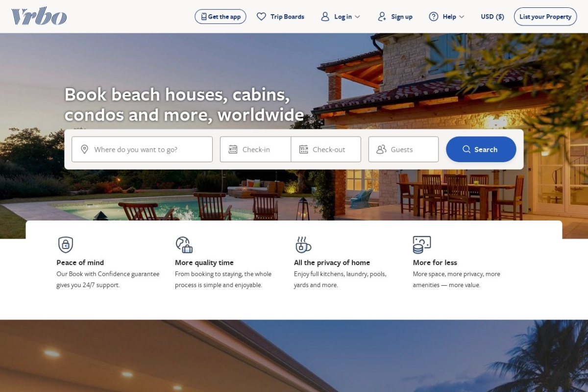 Screenshot of www.homeaway.com