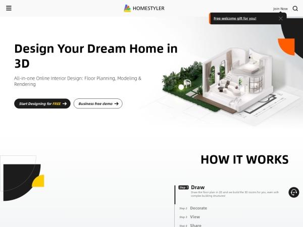 Screenshot of www.homestyler.com