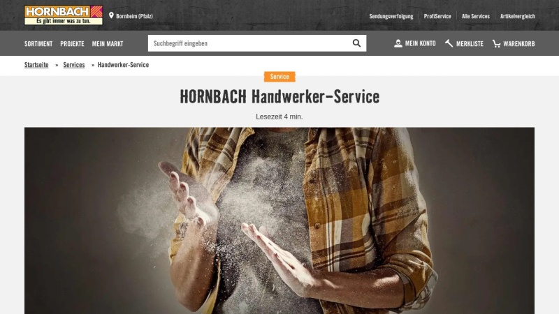 Screenshot of www.hornbach.de