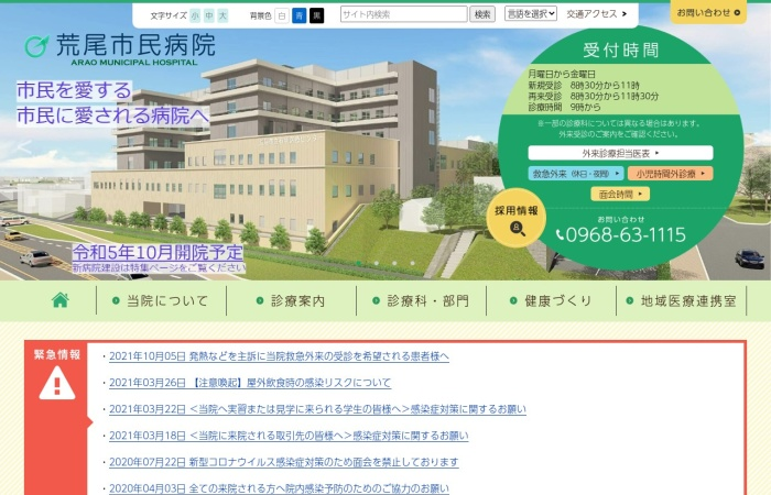 Screenshot of www.hospital.arao.kumamoto.jp