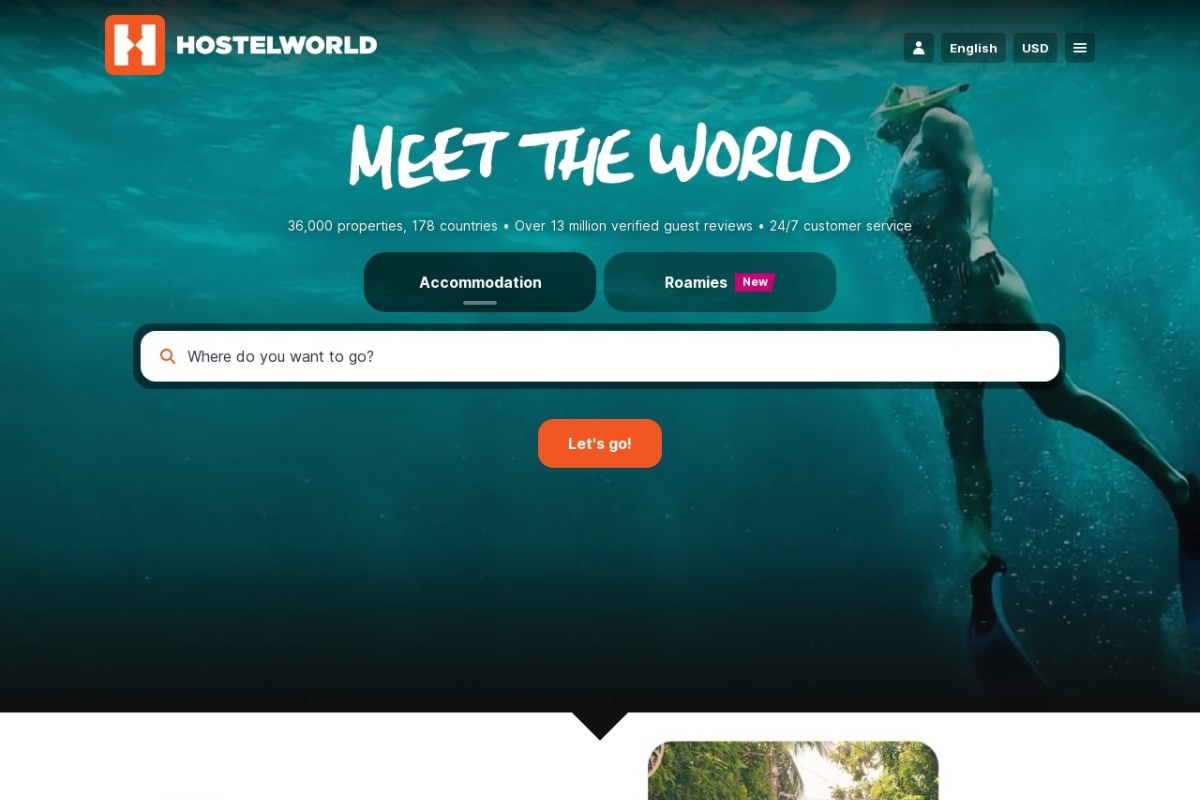 Screenshot of www.hostelworld.com