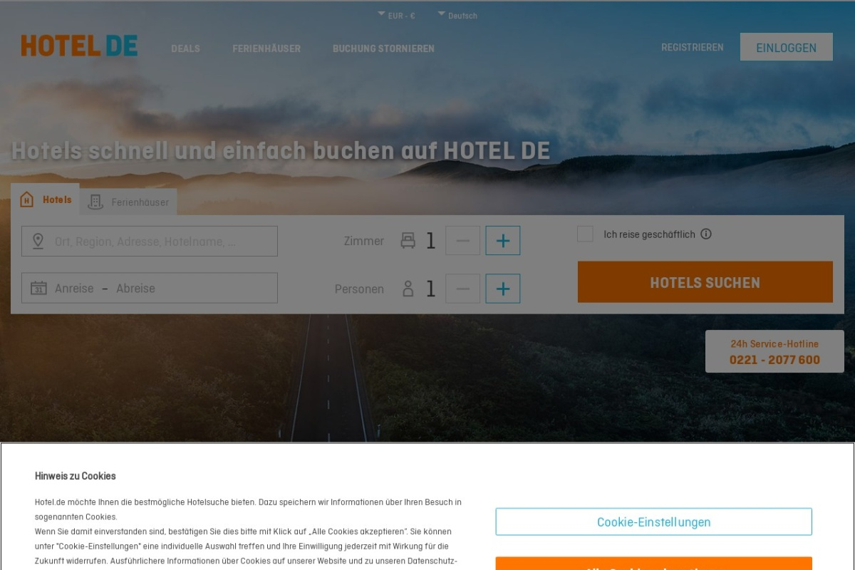 Screenshot of www.hotel.de