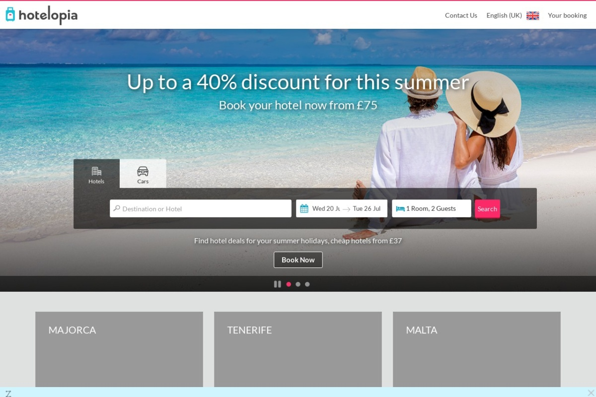 Screenshot of www.hotelopia.com