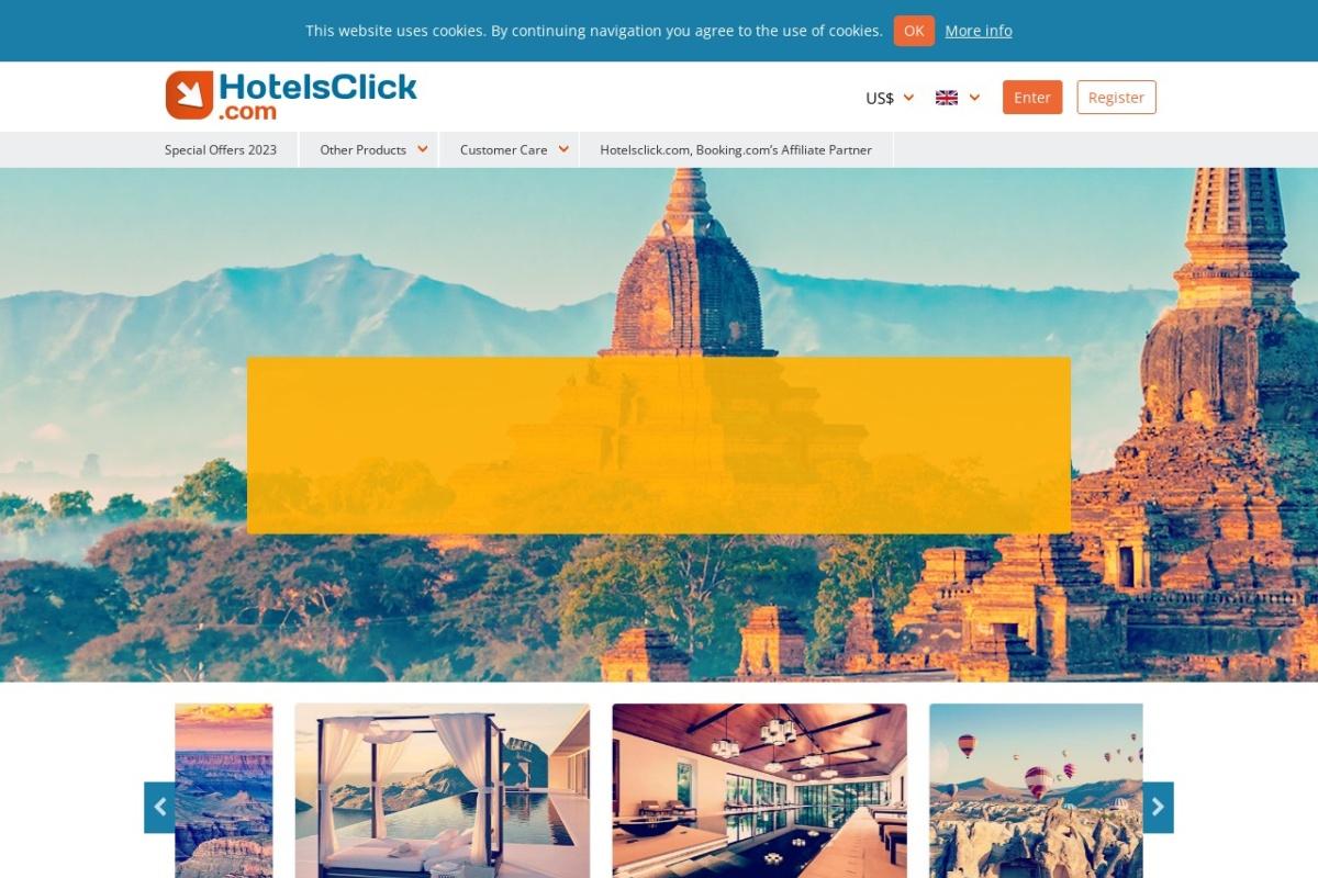 Screenshot of www.hotelsclick.com