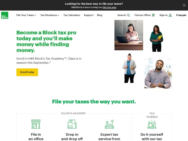 Screenshot of www.hrblock.ca