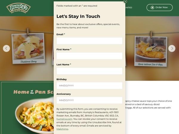 Screenshot of www.humptys.com