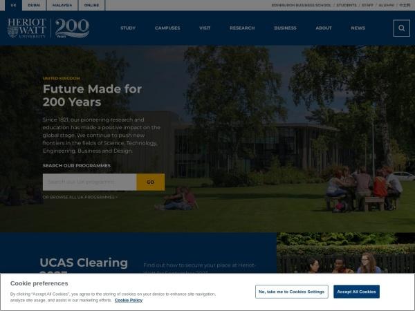 Screenshot of www.hw.ac.uk