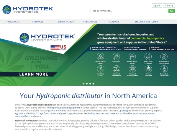 Screenshot of www.hydrotek.ca