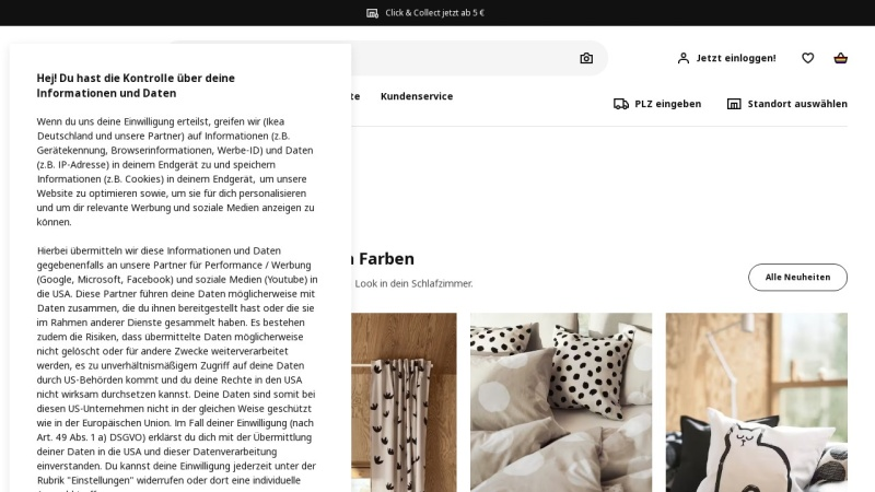 Screenshot von www.ikea.com