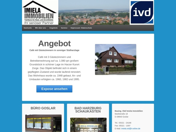 Screenshot von www.imiela-immobilien.de