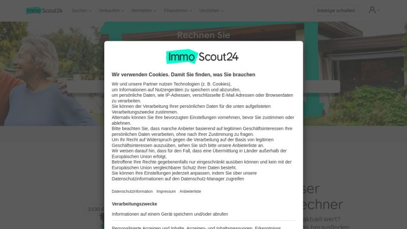 Screenshot of www.immobilienscout24.de