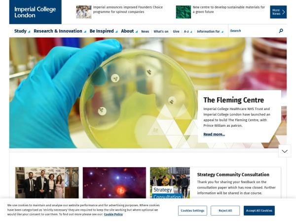 Screenshot of www.imperial.ac.uk