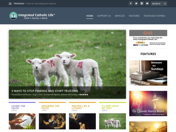 Screenshot of www.integratedcatholiclife.org