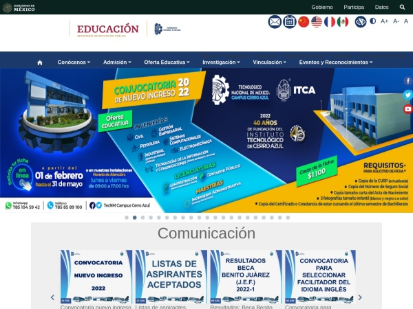 Screenshot of www.itcerroazul.edu.mx