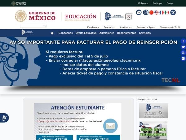 Screenshot of www.itnl.edu.mx