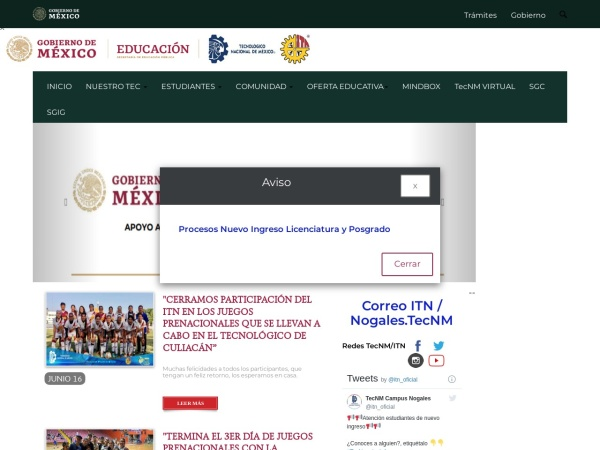 Screenshot of www.itnogales.edu.mx