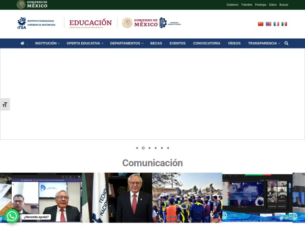 Screenshot of www.itsa.edu.mx