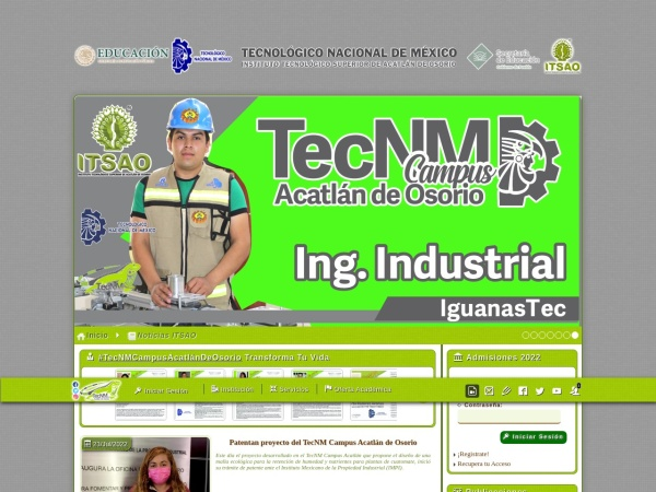 Screenshot of www.itsao.edu.mx