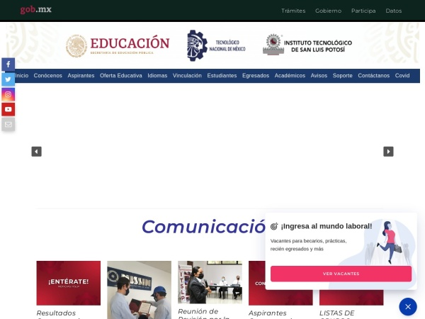Screenshot of www.itslp.edu.mx