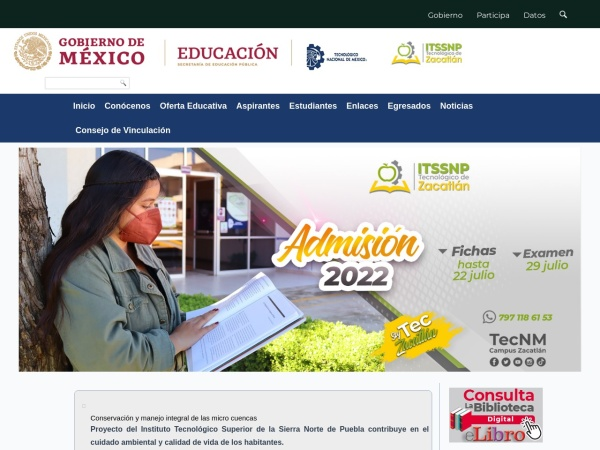 Screenshot of www.itssnp.edu.mx