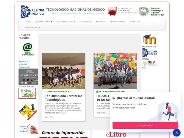 Screenshot of www.itszas.edu.mx
