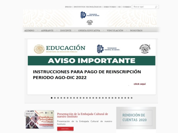 Screenshot of www.ittehuacan.edu.mx