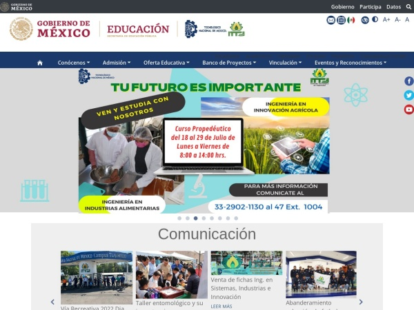 Screenshot of www.ittlajomulco.edu.mx