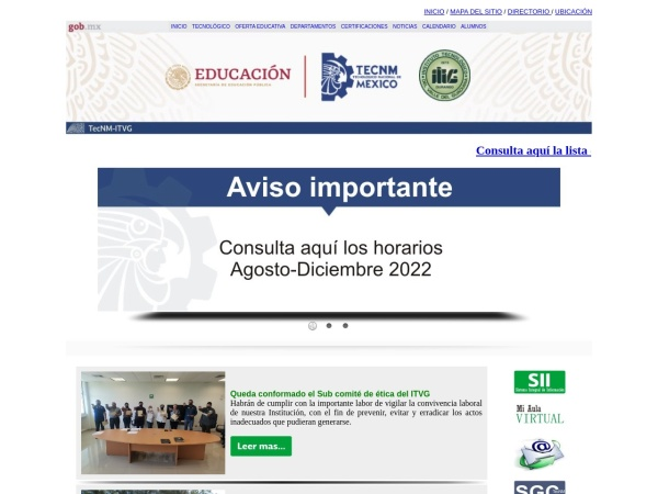 Screenshot of www.itvalledelguadiana.edu.mx