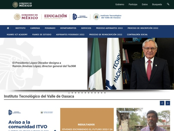 Screenshot of www.itvalleoaxaca.edu.mx