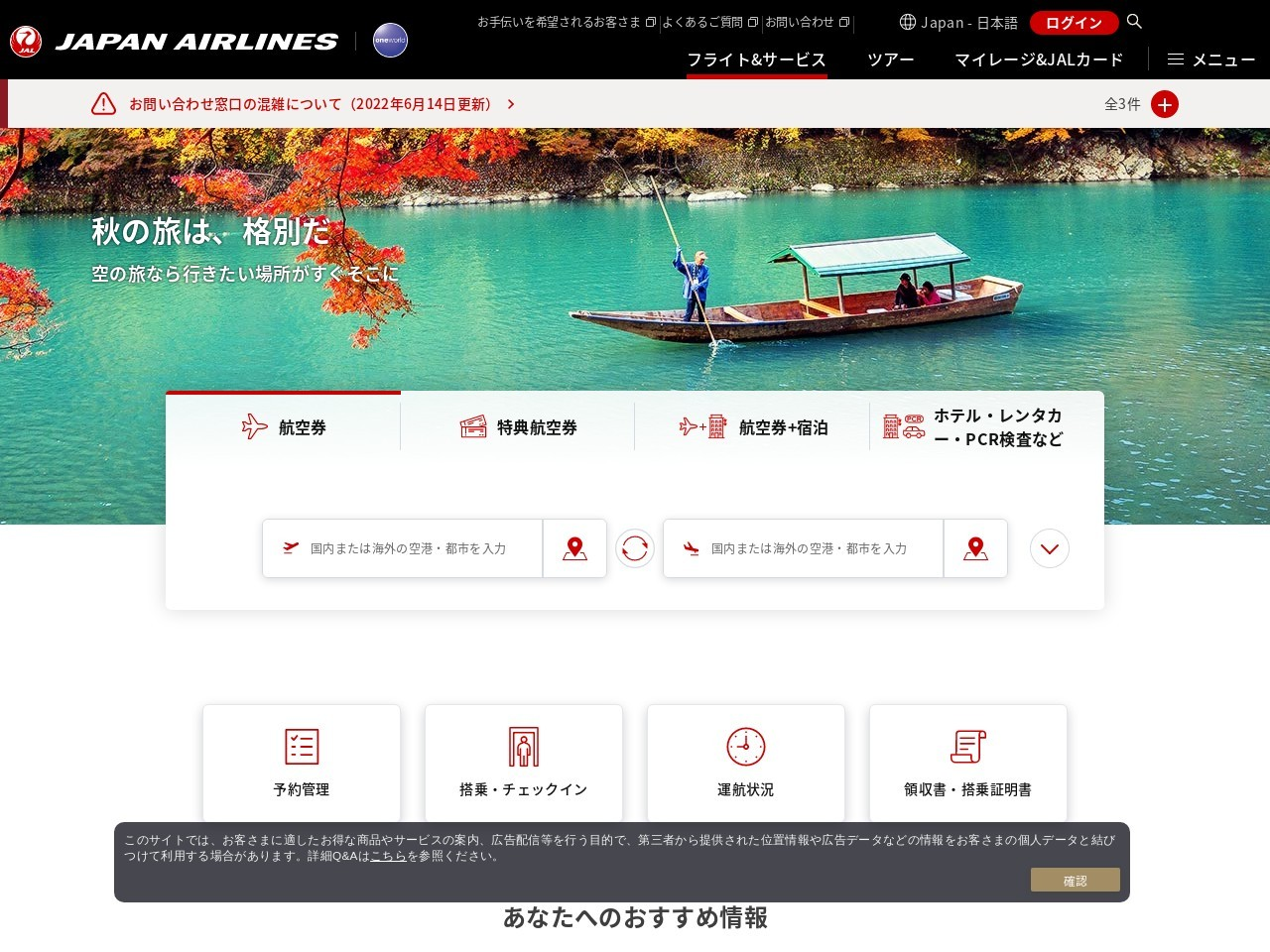 Screenshot of www.jal.co.jp