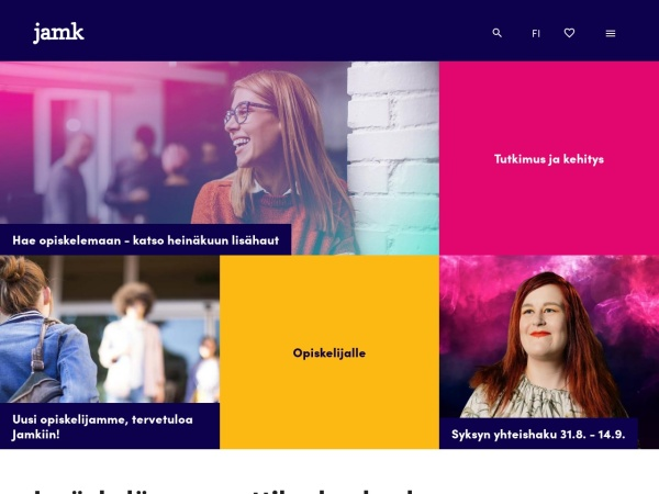 Screenshot of www.jamk.fi