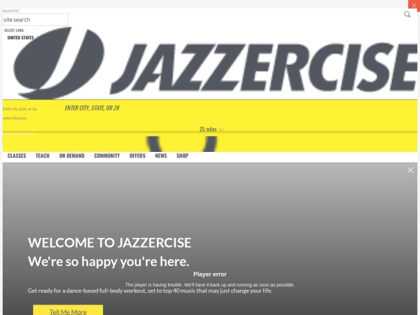 Screenshot of www.jazzercise.com