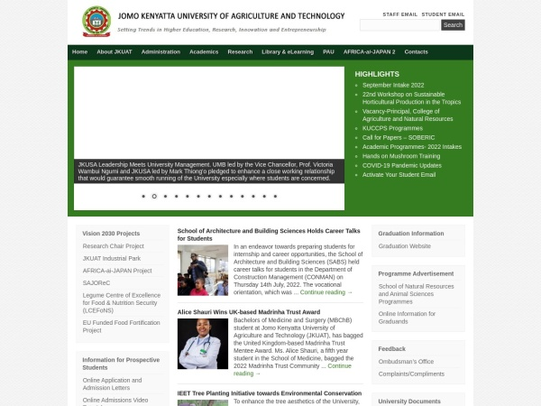 Screenshot of www.jkuat.ac.ke