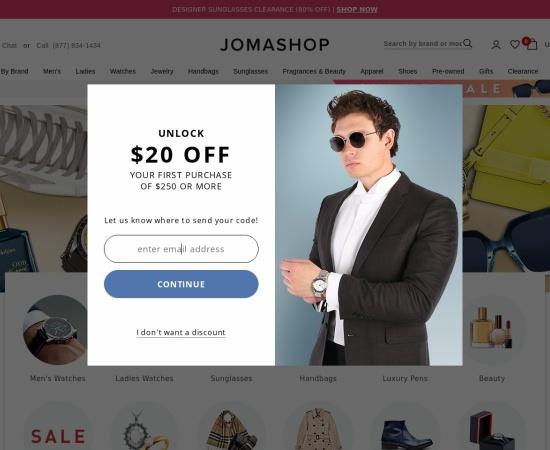 Screenshot of www.jomashop.com