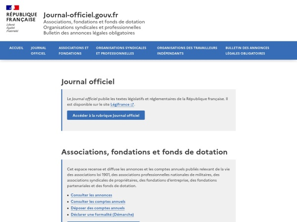 Screenshot of www.journal-officiel.gouv.fr