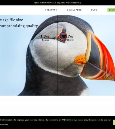 Screenshot of www.jpegmini.com