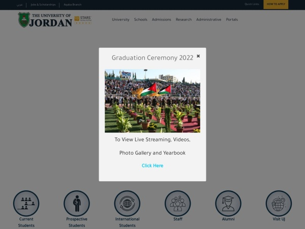 Screenshot of www.ju.edu.jo