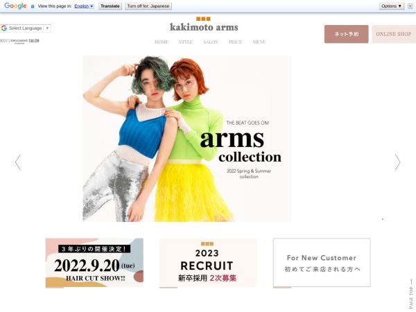 Screenshot of www.kakimoto-arms.com