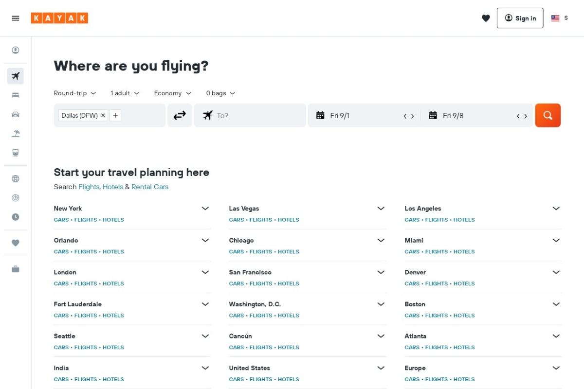 Screenshot of www.kayak.com