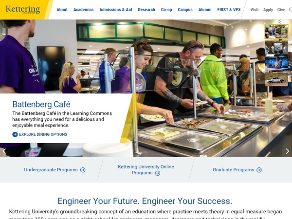 Screenshot of www.kettering.edu