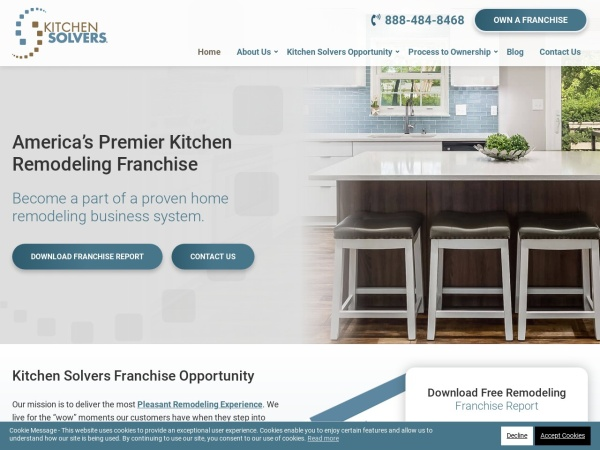 Screenshot of www.kitchensolversfranchise.com
