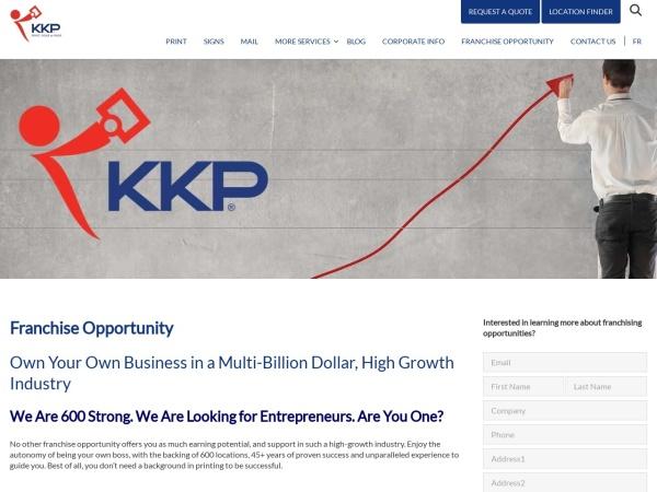 Screenshot of www.kkpprintfranchise.ca