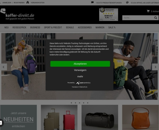 Screenshot of www.koffer-direkt.de