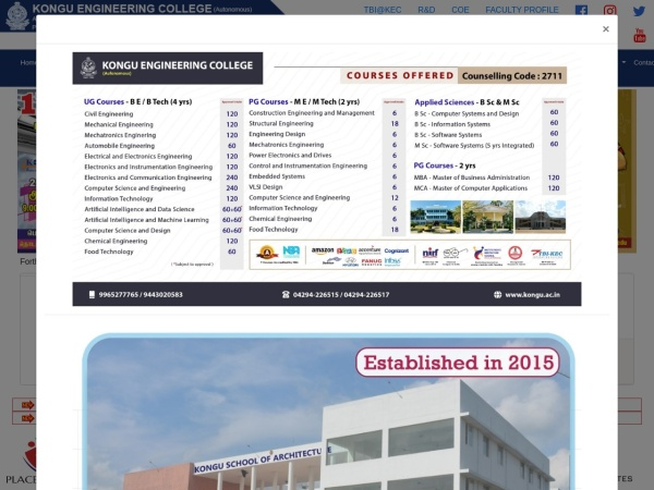 Screenshot of www.kongu.ac.in