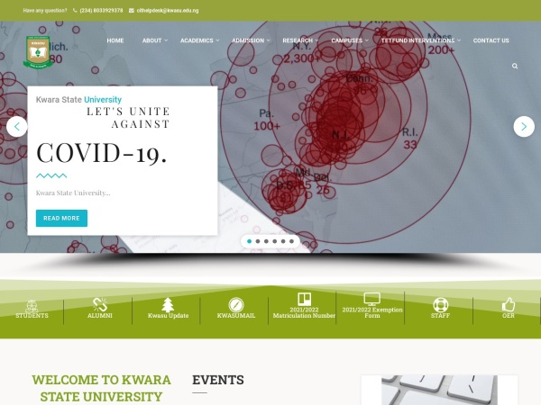 Screenshot of www.kwasu.edu.ng