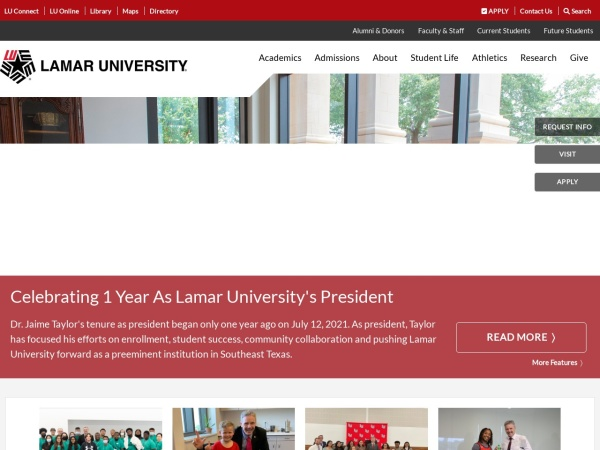 Screenshot of www.lamar.edu