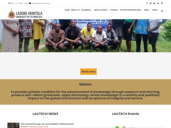 Screenshot of www.lautech.edu.ng