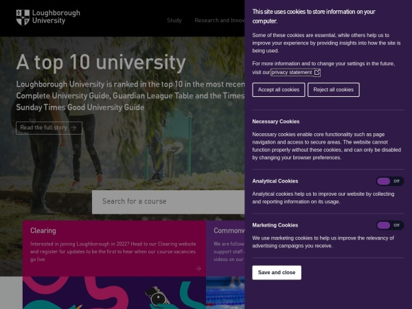 Screenshot of www.lboro.ac.uk
